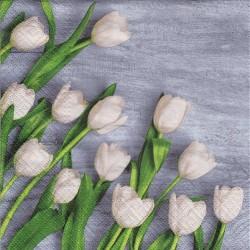 Paper Napkins - White tulips