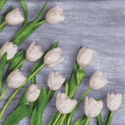 Servietter - White tulips